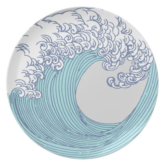 Wave Ocean Surf Art Print Asian Japanese Plate