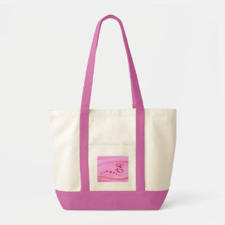 Wave of red hearts Bridesmaid monogram tote bags