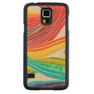 Wave Pattern Drawn By Watercolor Paints Carved Maple Galaxy S5 Case