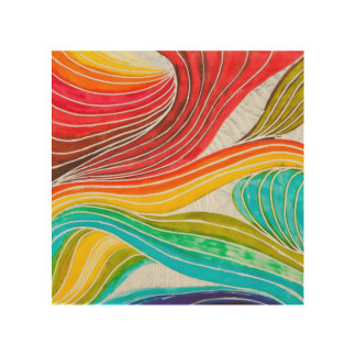 Wave Pattern Drawn By Watercolor Paints Wood Wall Decor