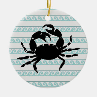 Wave Pattern Silhouette of Crab Christmas Ornament