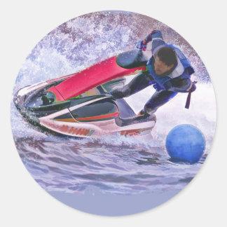 Wave Runner Around the Buoy Round Sticker
