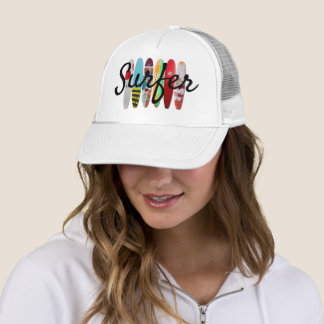 Wave Surfer with Colorful Surfboards Trucker Hat