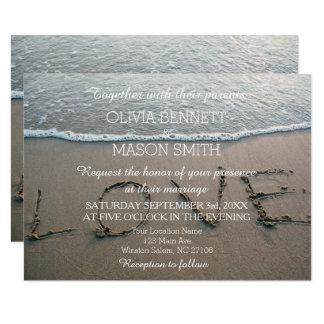 Wave Tropical Destination Beach Love Wedding Card