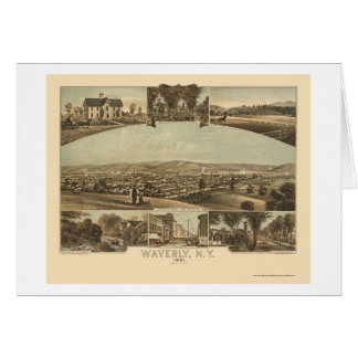 Waverly, NY Panoramic Map - 1881 Card