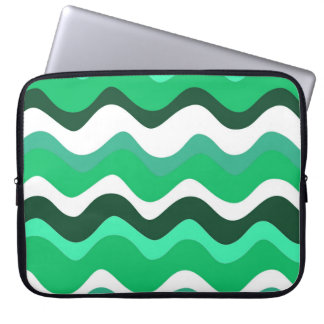 Waves 2 (green) laptop sleeve