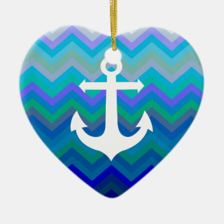 Waves & Anchor Ceramic Heart Decoration