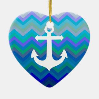Waves & Anchor Christmas Ornament