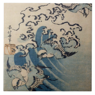 Waves and Birds, c.1825 (colour woodblock print) Tile