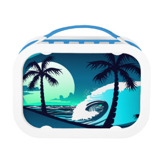 Waves and palm trees lunch box
