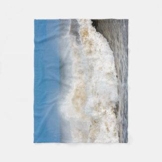 waves beach seaside photograph blanket