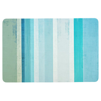 'Waves' Blue and Beige Abstract Art Floor Mat