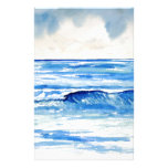 Waves blue turquoise art personalized stationery