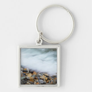 Waves Breaking Onto Pebbles, Tsitsikamma Silver-Colored Square Key Ring