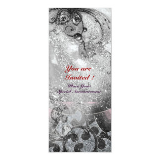 "WAVES , bright  black and white  sparkles 4"" X 9.25"" Invitation Card"