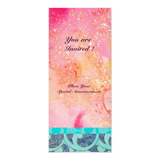 "WAVES , bright  blue green pink gold sparkles 4"" X 9.25"" Invitation Card"
