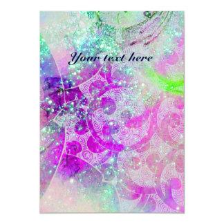 WAVES , bright purple green blue pink gold sparkle 13 Cm X 18 Cm Invitation Card