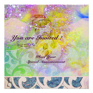 WAVES bright purple green blue pink gold sparkle Custom Announcements