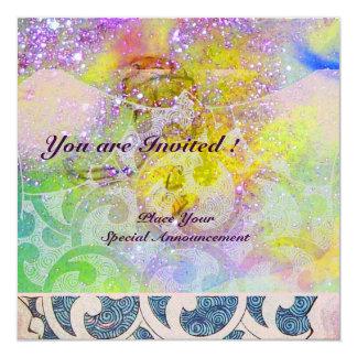 WAVES , bright purple green blue pink gold sparkle 13 Cm X 13 Cm Square Invitation Card
