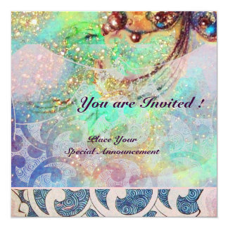 "WAVES , bright red  blue green pink gold sparkles 5.25"" Square Invitation Card"
