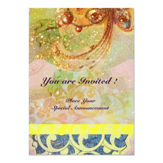 WAVES , bright red brown yellow blue pink sparkles 13 Cm X 18 Cm Invitation Card