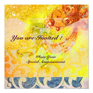 "WAVES , bright red brown yellow blue pink sparkles 5.25"" Square Invitation Card"