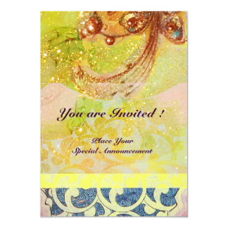 WAVES , bright red brown yellow blue pink sparkles Custom Invitation