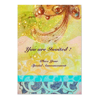 "WAVES , bright red brown yellow blue pink sparkles 5"" X 7"" Invitation Card"