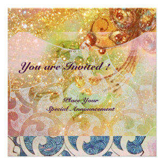 WAVES bright red brown yellow blue pink sparkles Personalized Announcements
