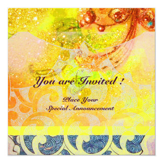 WAVES , bright red brown yellow blue pink sparkles Personalized Invitations