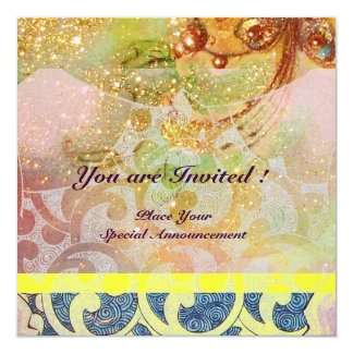 WAVES , bright red brown yellow blue pink sparkles 5.25x5.25 Square Paper Invitation Card