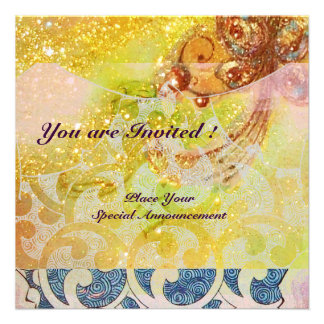 WAVES bright red brown yellow blue pink sparkles Custom Invitation