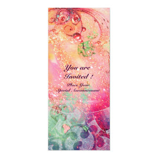 WAVES , bright  red green blue pink gold sparkles 10 Cm X 24 Cm Invitation Card