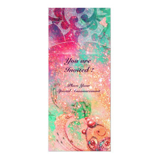 WAVES , bright red green  blue pink gold sparkles 4x9.25 Paper Invitation Card