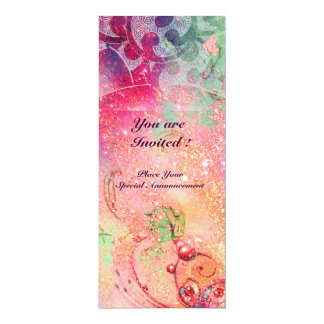 "WAVES , bright red green  blue pink gold sparkles 4"" X 9.25"" Invitation Card"