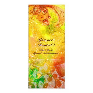 WAVES , bright red  green brown pink gold sparkles 10 Cm X 24 Cm Invitation Card