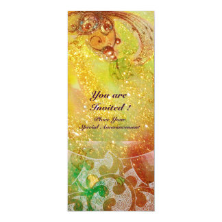 "WAVES , bright red  green brown pink gold sparkles 4"" X 9.25"" Invitation Card"