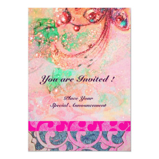 WAVES , bright red green yellow blue pink sparkles 13 Cm X 18 Cm Invitation Card