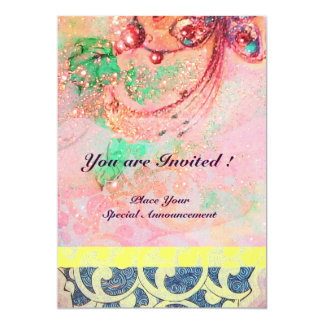 "WAVES , bright red green yellow blue pink sparkles 5"" X 7"" Invitation Card"