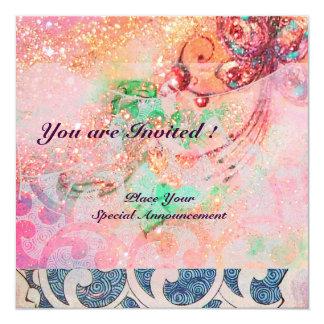 WAVES , bright red violet blue pink gold sparkles 13 Cm X 13 Cm Square Invitation Card