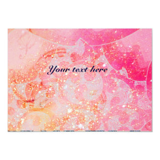 WAVES , bright red violet blue pink gold sparkles 13 Cm X 18 Cm Invitation Card