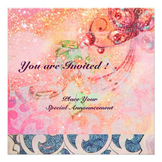 WAVES bright red violet blue pink gold sparkles Personalized Invite