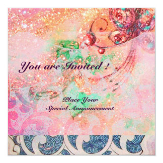 "WAVES , bright red violet blue pink gold sparkles 5.25"" Square Invitation Card"