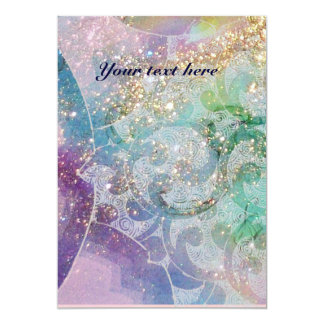 "WAVES , bright red violet  blue pink gold sparkles 5"" X 7"" Invitation Card"