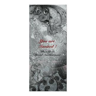 WAVES bright silver metallic black white sparkles 10 Cm X 24 Cm Invitation Card