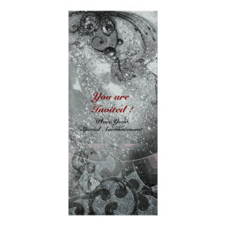 WAVES bright silver metallic black white sparkles Invitations