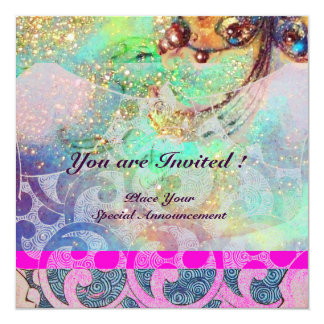 "WAVES , bright violet blue green pink gold sparkle 5.25"" Square Invitation Card"
