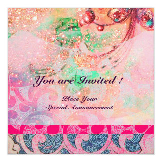 WAVES , bright violet blue pink gold sparkles 13 Cm X 13 Cm Square Invitation Card