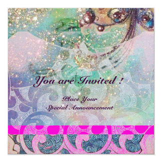 WAVES , bright violet blue pink gold sparkles 13 Cm X 13 Cm Square Invitation Card