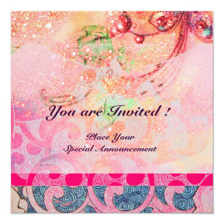 "WAVES , bright violet blue pink gold sparkles 5.25"" Square Invitation Card"